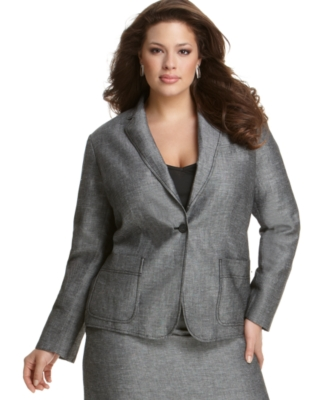 Calvin Klein Plus Size Jacket, Linen Blend One Button