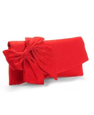 Jessica McClintock Handbag, Satin Fold Over Bow Clutch