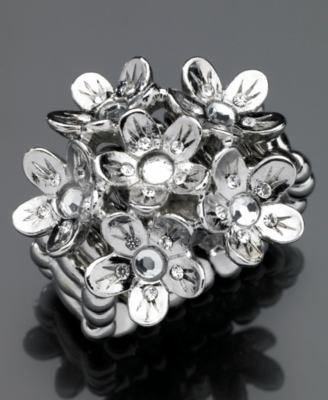 GUESS Ring, Silvertone Flower