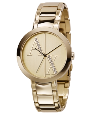 AX Armani Exchange Watch, Women's Goldtone Stainless Steel Bracelet AX4059