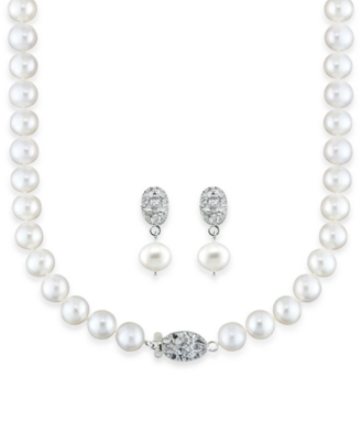 Sterling Silver Pearl Necklace and Earrings, Diamond Accent and Cultured Freshwater Pearl Set