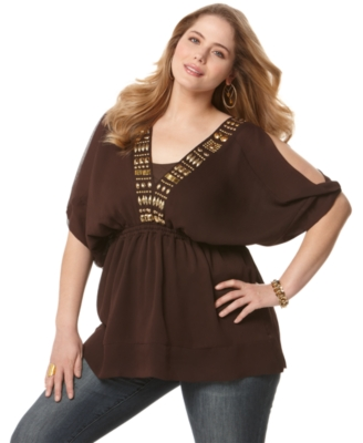 MICHAEL Michael Kors Plus Size Top, Cold Shoulder Embellished Tunic