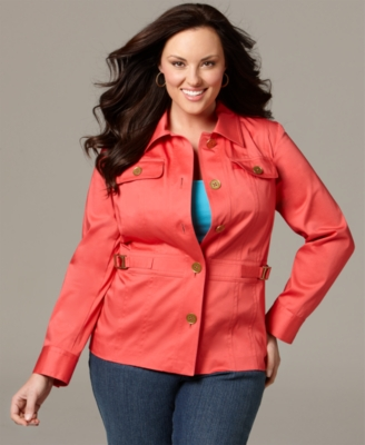 Jones New York Signature Plus Size Jacket, Long Sleeve