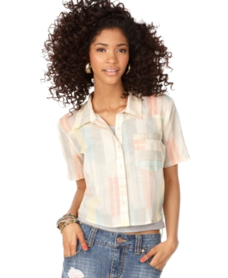 American Rag Top, Striped Cropped Button Down Shirt