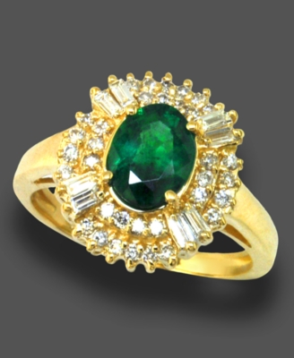 14k Gold Ring, Emerald (1-1/8 ct. t.w.) and Diamond (3/8 ct. t.w.)