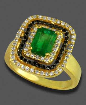 Effy Collection 14k Gold Ring, Emerald (9/10 ct. t.w.) and Diamond (3/8 ct. t.w.)