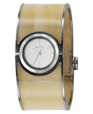 Fossil Watch, Women's Horn Plastic and Stainless Steel Bangle Bracelet ES2485