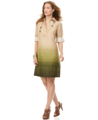 J Jones New York Dress, Rolled Sleeve Linen Ombre