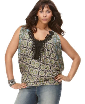 Baby Phat Plus Size Top, Sleeveless Crochet V-Neck
