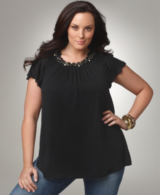 Alfani Plus Size Top, Shaper Flutter Sleeve Beaded Neckline