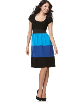 Tiana B Dress, Short Sleeve Colorblocked