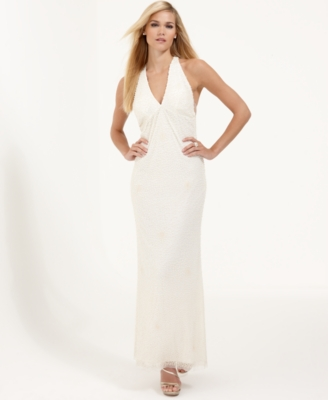 Adrianna Papell Dress, Sleeveless Long Beaded Gown