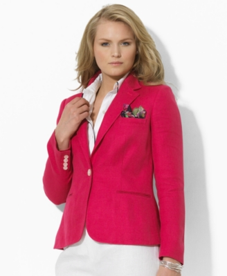 Lauren by Ralph Lauren Plus Size Jacket, Vincent One Button Linen