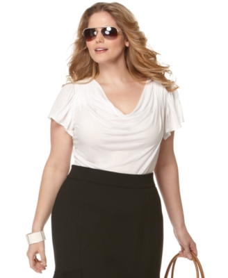 Michael Kors Plus Size Top, Cascade Cowlneck