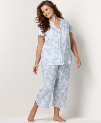 Charter Club Pajamas, Short Sleeve Ruffle Plus Size