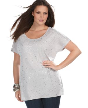 INC International Concepts Plus Size Tee, Dolman Sleeve Studded