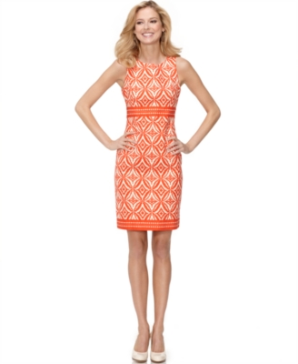 Jones New York Dress, Sleeveless Printed Sheath
