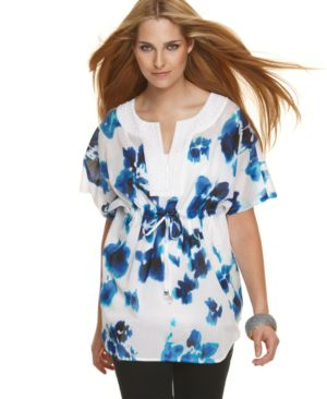 MICHAEL Michael Kors Tunic, Short Sleeve Floral with Tie