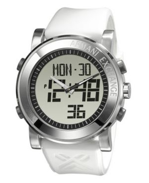 AX Armani Exchange Watch, Men's White Polyurethane Strap AX1080 - Watches