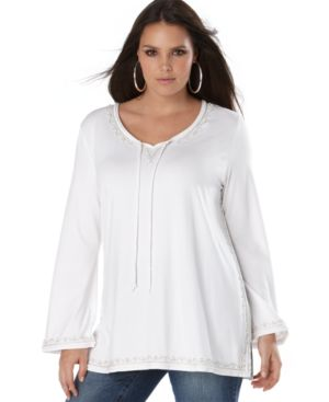 INC International Concepts Plus Size Tunic, Long Sleeve Bead Embellished