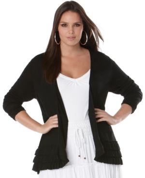 INC International Concepts Plus Size Cardigan, Ruffled Hem Open Front