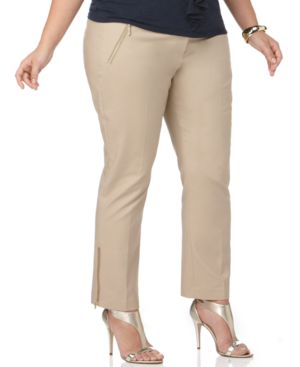 MICHAEL Michael Kors Plus Size Pants, Zipper Ankle Length