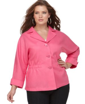 Jones New York Signature Plus Size Jacket, Three Quarter Sleeve Linen