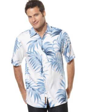 Cubavera Shirt, Short Sleeved Leaf Pattern - Cubavera