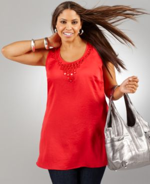 Alfani Plus Size Top, Sleeveless Mirror Tile Racerback Tunic - Clothes