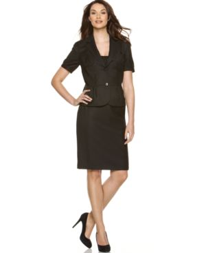 Nine West Suit, Short Sleeve Jacket & Pencil Skirt