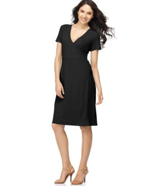 Elementz B Slim Dress, Short Sleeve Dancer Faux Wrap