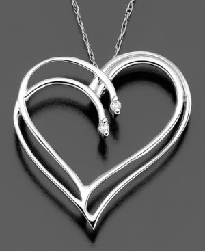 14k White Gold Pendant, Diamond Heart (1-1/5 ct. t.w.)