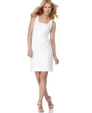 Rafaella Dress, Sleeveless Pique Sheath