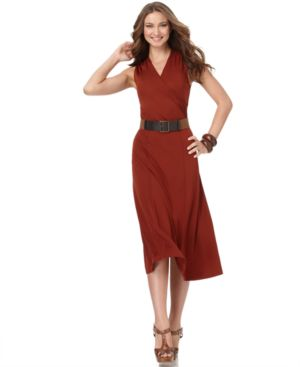 Jones New York Dress, Sleeveless Matte Jersey with Belt