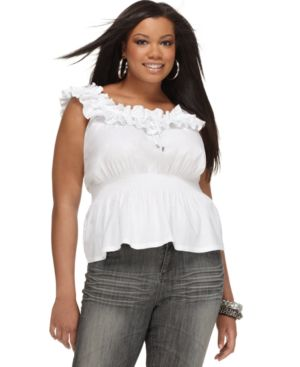 Dereon Plus Size Top, Sleeveless Ruffled Smocked Waist