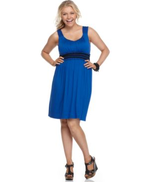 Soprano Plus Size Dress, Sleeveless Contrast Waist Knit