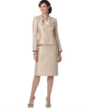 Suit Studio Suit, Bow Collar Long Sleeve Jacket & Skirt