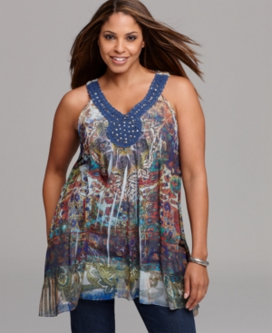 Plus Size Clothing,  Plus Size Womens Clothing Style & co. Plus Size Top,  Sleeveless Printed Crochet Trim Tunic