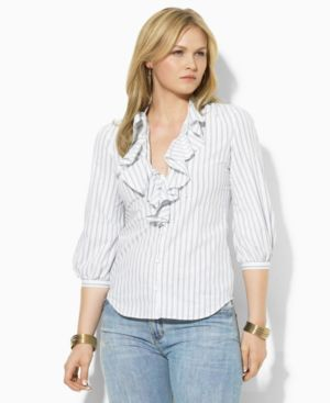 Lauren by Ralph Lauren Plus Size Shirt, Aaliyah Three Quarter Sleeve Ruffled