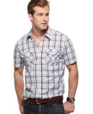 Kenneth Cole New York Shirt, Short Sleeved Plaid