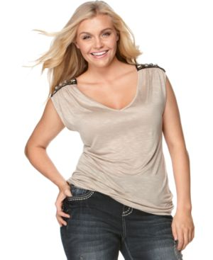 Soprano Plus Size Top, Embellished Cap Sleeve
