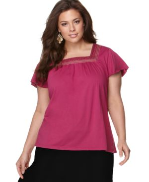 Charter Club Plus Size Top, Flutter Sleeve Embroidered Squareneck