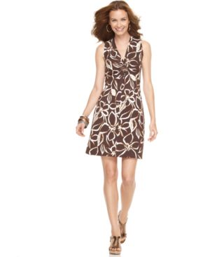 Jones New York Signature Dress, Sleeveless Floral with O-Ring - Dresses & Skirts