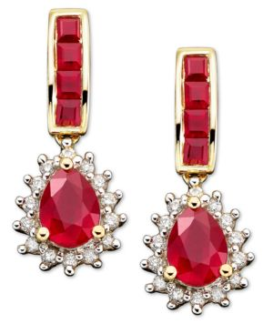 14k Gold Earrings, Ruby (2-1/2 ct. t.w.) and Diamond (1/4 ct. t.w.) - Macy's