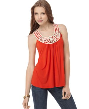 Soprano Top, Sleeveless Scoop Neck Rosette Tank