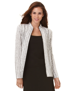 Alex Evenings Jacket, Long Sleeve Zip Front Sparkle