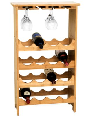 CLOSEOUT! Lipper International Wine Rack, Bamboo Stemware Rack with 16 Bottle Storage