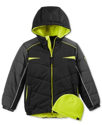 Image of Protection System Colorblocked Hooded Bubble Jacket and Coordinating Hat, Toddler Boys & Little Boys