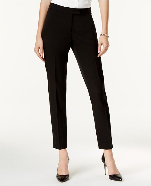 Anne Klein Crepe Bowie Slim Fit Pants Reviews Pants Leggings Women Macy S The waist ran big and the rise small, making this a smart choice for women with boyish figures. crepe bowie slim fit pants