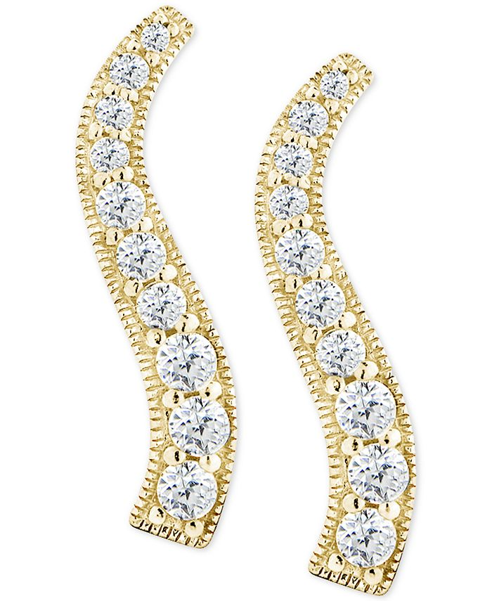 Giani Bernini - Cubic Zirconia Graduated Curve Drop Earrings in 18k Gold-Plated Sterling Silver